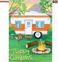 happy campers house flag premier rv house yard lawn campground fun flag 28 x 40 Garden