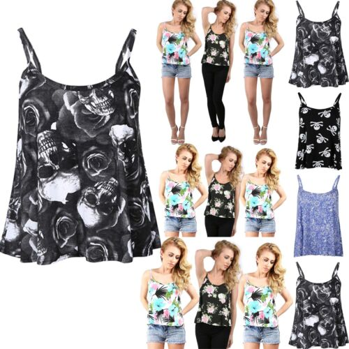 Womens Cami Top Ladies Plus Size Thin Strappy Swing Vest Printed Floral Flared