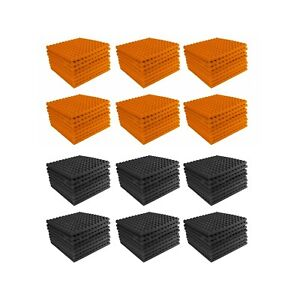 Acoustic-Foam-96-pack-Orange-Charcoal-Gray-Pyramid-Studio-12x12x1-tiles