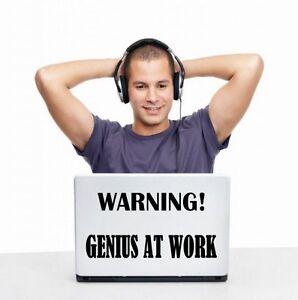 """ordinateur portable stickers UK génie au travail/"""" funny vinyl wall stickers JC design /""""attention"""
