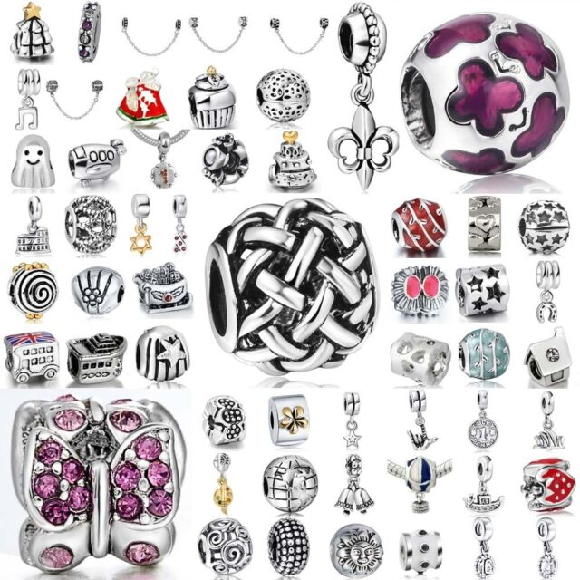 European Charms Butterfly Crystal Beads Fit 925 Sterling Silver Bracelets Chains