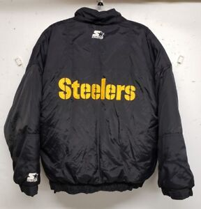 outlet store eff19 527aa Details about Vintage 90s STARTER Pittsburgh Steelers 1/4 zip pullover  jacket mens Large NFL