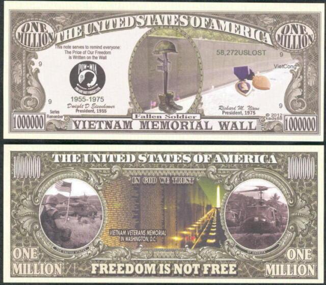 Vietnam Memorial Wall Million Dollar Bill Funny Money Novelty Note Free Sleeve