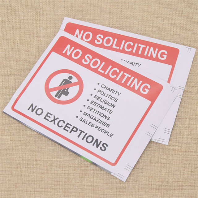 """NO Soliciting Sign 10/"""" X 8/"""" no Charity no Money Saving Offers for Home Door or Office No Exceptions"""