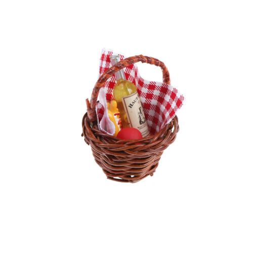 1:12 Dollhouse Miniature Food Basket Doll House For A Picnic Accessories LE
