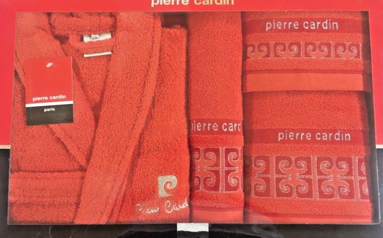Pierre Cardin L XL 4 Pièce Peignoir Serviette Set Rouge 100% Coton De Luxe