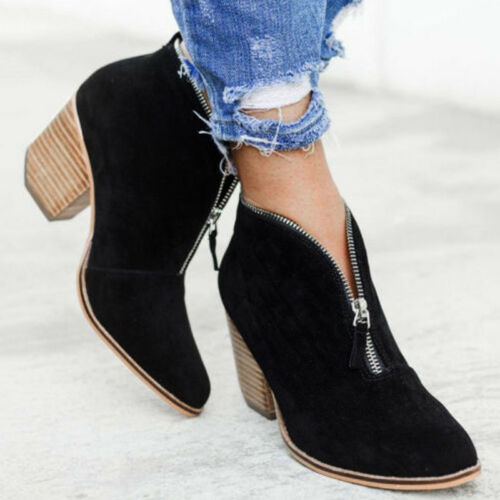 Women/'s Low Mid Block Heel Ankle Boots Ladies Chunky V-Cut Zipper Booties Shoes
