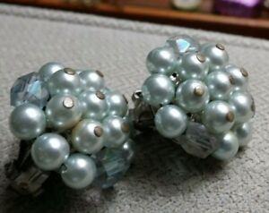 Vintage Japan Green White Bead Cluster Clip on Earrings Lot 1950s 60s