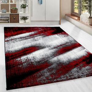 Moderner-Design-Teppich-Kurzflor-abstrakt-Schatten-Wohnzim-Schwarz-Rot-Meliert