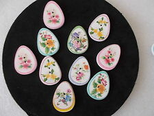 10 ASSORTED WOOD SEWING BUTTONS OVAL SHAPE FLOWER PATTERN CRAFTS  SCRAP BOOKING