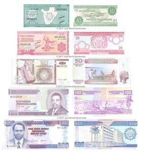 Burundi-10-20-50-100-500-Francs-Set-of-5-Banknotes-UNC