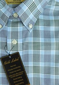 NWT Gold Label Roundtree /& Yorke Blue Gold Check Men/'s Shirt Big Tall Many Sizes