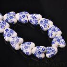 10pcs 14mm Heart Geramic Loose Spacer Beads Jewerly Making Deep Blue Spring