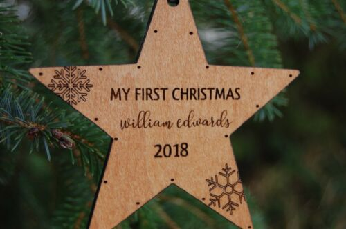 Tree Decoration Babys First Christmas Bauble Baby 1st Christmas Wooden Bauble