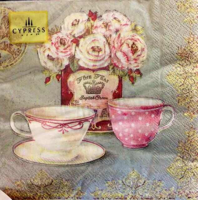 Cypress Home Vintage Teacups Design Paper Napkins Pack of 20 Ideal For Decoupage