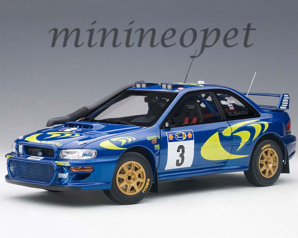 AUTOart 89792 SUBARU IMPREZA WRC 1997 RALLY OF SAFARI 1 18 MODEL CAR blueE