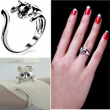 Exquisite Jewelry Womens Cute Silver Plated Cat Shaped Ring With Crystal Eyes MD