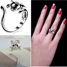 Las mujeres gato adorable gatito plateado plata cristal Animal ojos anillo de