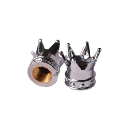 Tapas de válvula modelo corona de plata 2 unidades neumáticos válvula tapas turismos moto