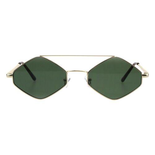Hexagon Diamond Shape Sunglasses Flat Top Thin Metal Frame UV 400