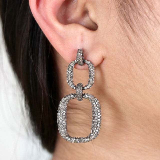 Natural Pave Diamond Dangle Earrings Vintage Style 925 Sterling Silver Jewelry