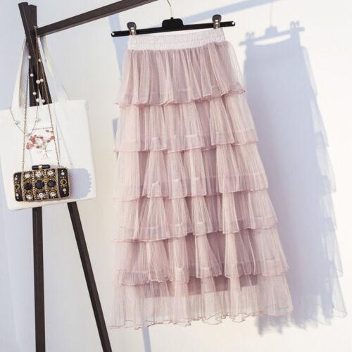 Korean High Waist Long Tutu Skirt Ruffles Women Skirt Casual Pleated Mesh Skirt