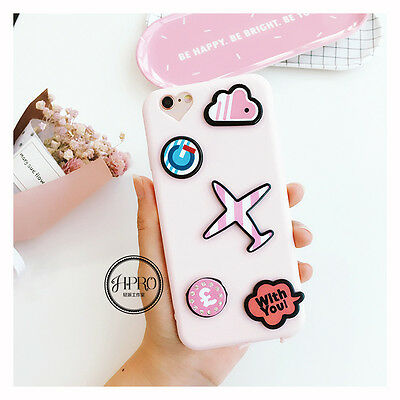 New Simple Cute Pink Small Pattern Couple Soft Case Cover for iPhone 6 6S 7 Plus