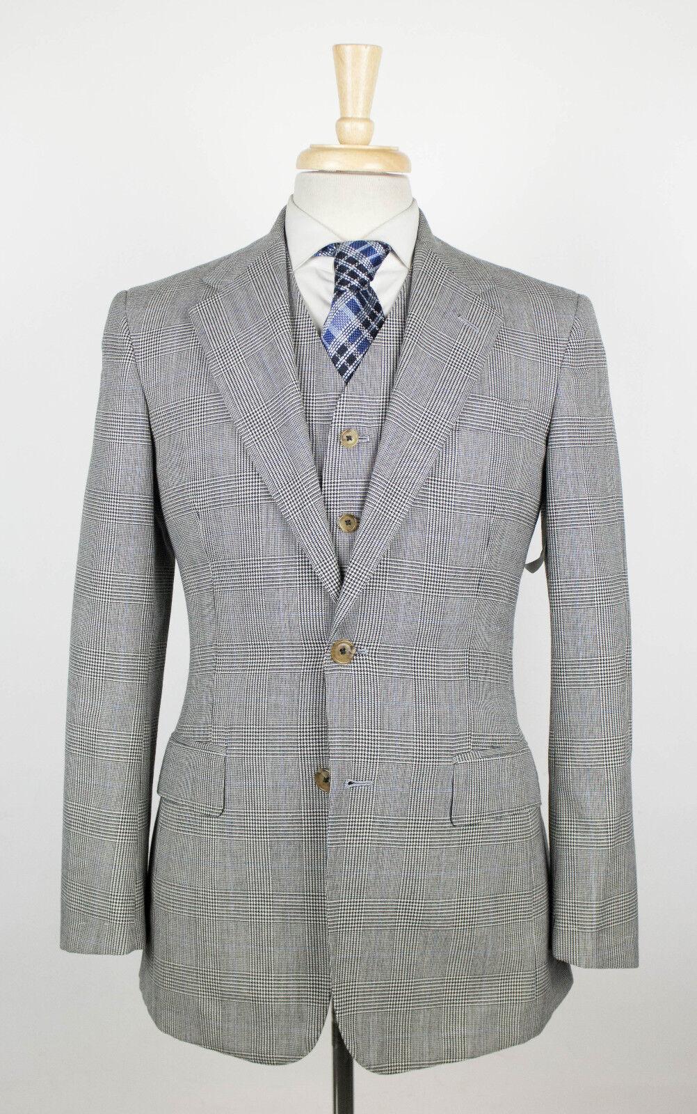 New FREEMANS SPORTING CLUB Martin Grünfield grau Plaid 3 Piece Suit 42 R 2440
