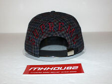 New Supreme Tweed Back Arc Camp Cap Hat Black 5-Panel Plaid Fall Winter 2014
