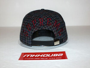 dff4711d5c1 New Supreme Tweed Back Arc Camp Cap Hat Black 5-Panel Plaid Fall ...