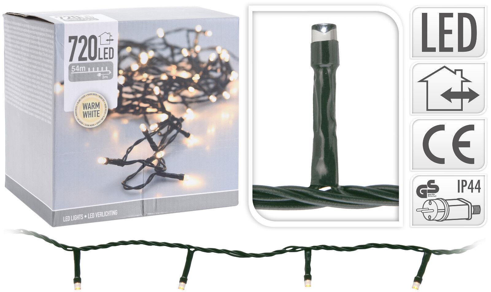Lichterkette 720 LED warmweiß 54m Länge Innen- Außen Außen Außen LED-Lichter-Kette weiß LEDs | Stilvoll und lustig  b741f2