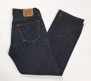 Levis-501-W34-tg-48-jeans-uomo-usati-accorciati-boyfriend-blu-dritti-uk-T2338