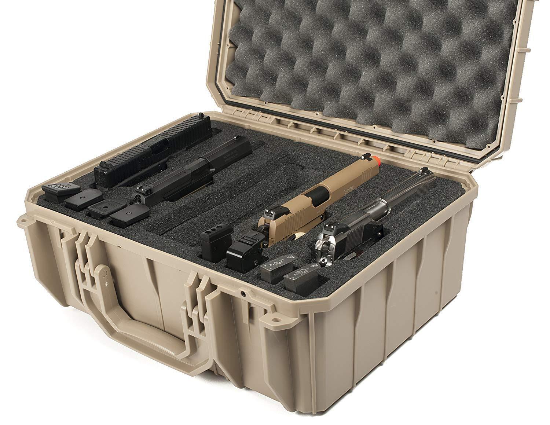 Tan Caballito de mar 4 Pistola Pistola rango de casos con espuma & Pelican - 1450 Cerradura