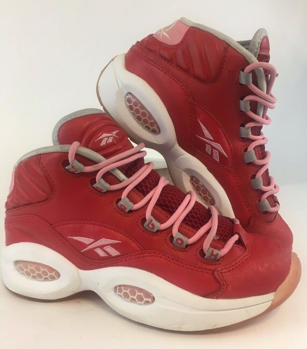 Reebok Allen Iverson The Question Pink Red Mid Retro Sparkle Youth 5.5 Womens 7