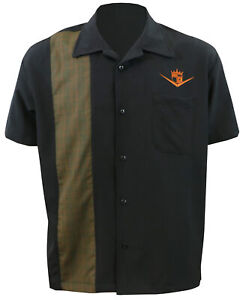 STEADY-CLOTHING-Floor-It-Single-Panel-Button-Up-Bowling-Shirt-Black-S-4XL-NEW