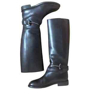 pas mal d6ca6 07f67 Détails sur BALENCIAGA – Bottes femme en cuir noir avec mors argenté (38,5)