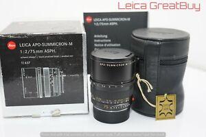 Leica-APO-SUMMICRON-M-75mm-F-2-Asphaerisch-Linse-6-Bit-Codiert-Verpackt-3986059