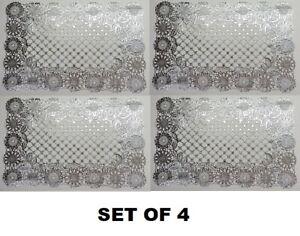 Set Of 4 Silver Flower Design Placemats Vinyl Dining Table Decor Kitchen Eat Ebay
