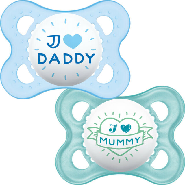 """/""""I LOVE DADDY/"""" MAM SOOTHER STYLE 0 M 2PK /"""" I LOVE MUMMY/"""""""