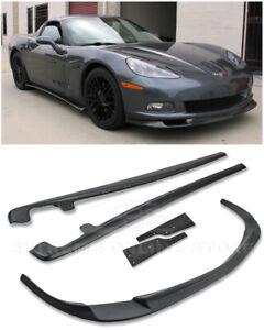 ZR1-Style-PRIMER-BLACK-Front-Lip-Splitter-Side-Skirts-For-05-13-Corvette-C6-BASE