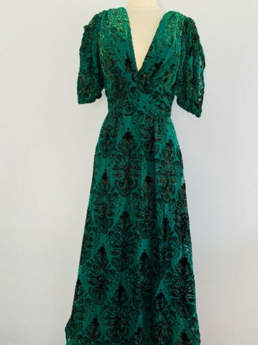 TrashyDiva Baroque Green Velvet Taylor Dress SZ 12