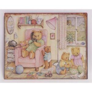 9973793-x Retro Vintage Tin Sign Teddy-Familie Children's Room 20x15cm