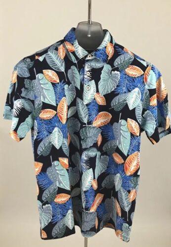 Tommy Bahama Palapa Leaves Island Zone Pique Polo Shirt Ocean Deep Sz M