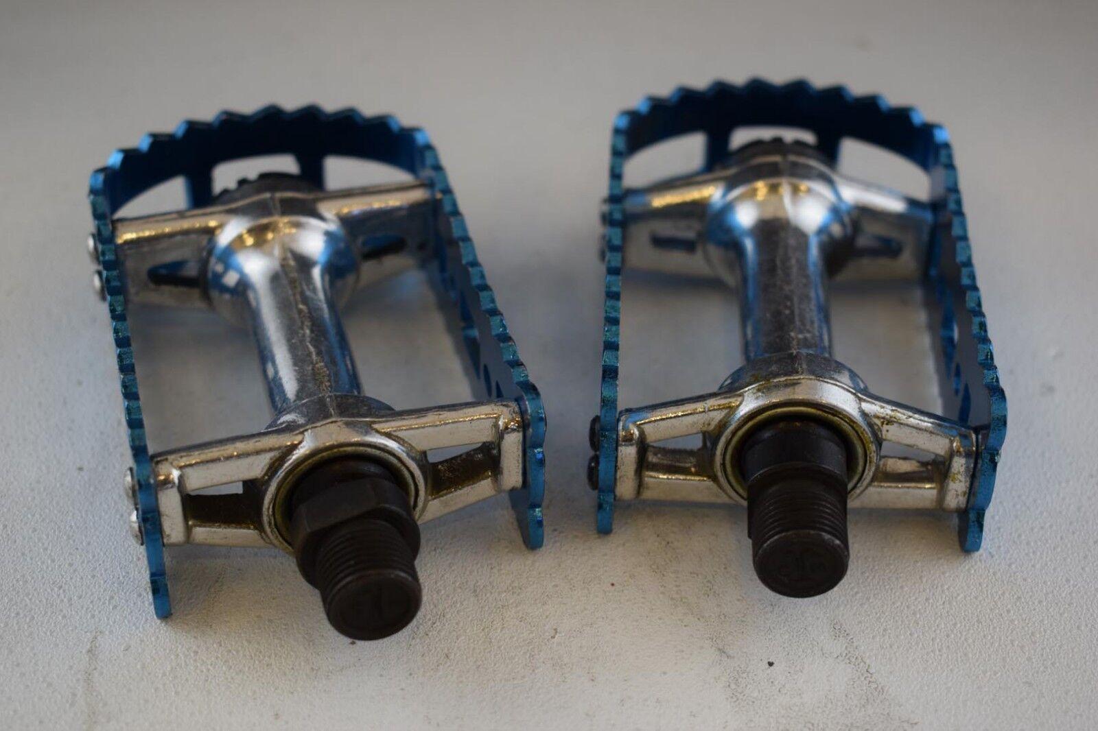 VP Victor 450 9 16 pedals set old school bmx Vintage Anodized bluee alloy nos