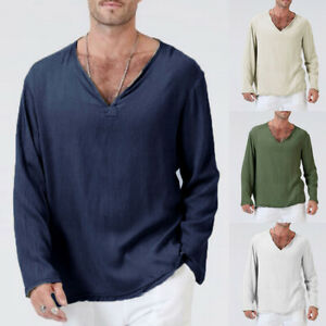 566bac4350a Cool Long Sleeve Loose Thin Men T-Shirt Deep V-Neck Tops Linen Size ...