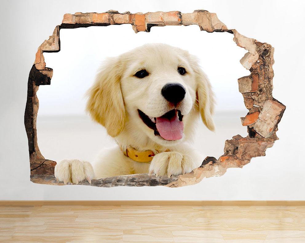 F308 oroen Retriever Cute Puppy stanza del vin adesivo da parete camera bambini