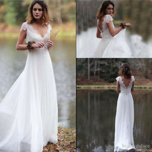 best price new style various colors Details about Boho Lace Chiffon Beach Wedding Dress White/Ivory Sheath  Bridal Gown Custom Made
