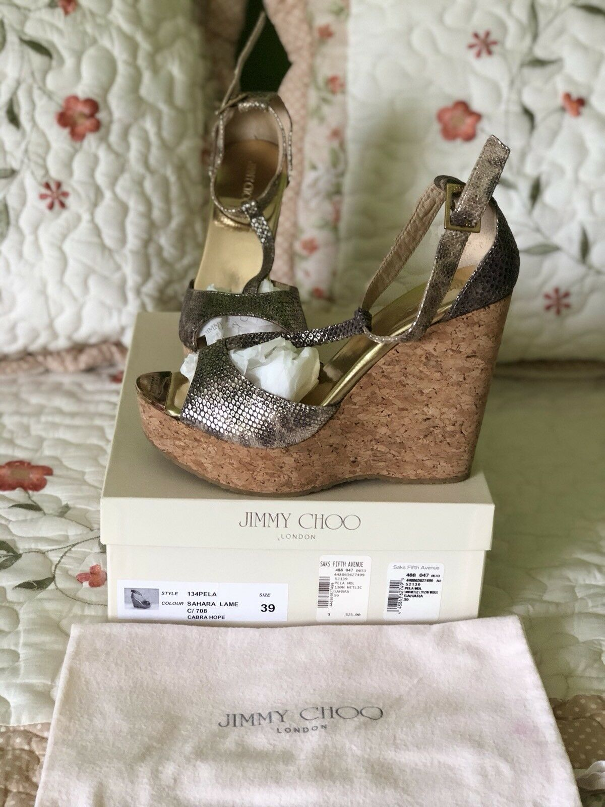 Jimmy Choo platform cork wedge   sandals