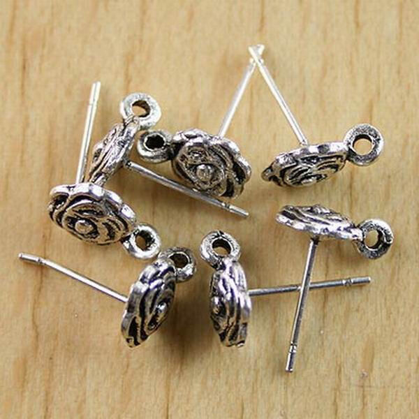 50pcs Tibetan silver feather charms h0608