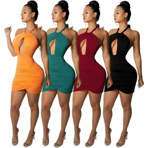 Women Halter Backless Casual Solid Open Front Bodycon Club Party Cocktail Dress